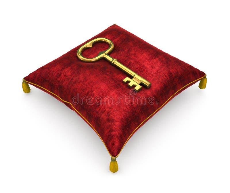Llave de oro en la almohada roja real del terciopelo aislada en el backgrou blanco ilustración del vector