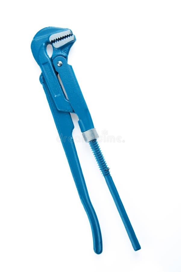 Llave de tubo ajustable, alicates, llave inglesa o herramienta el sondear en el fondo blanco fotografía de archivo libre de regalías