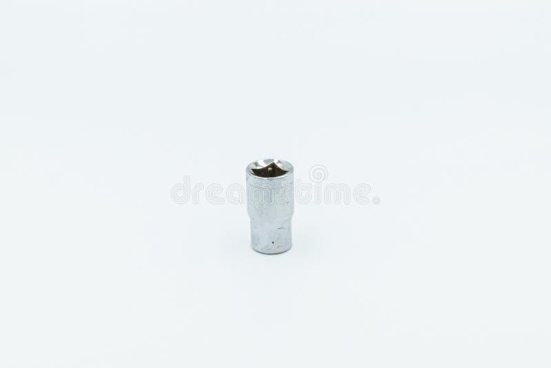 Llave de z?calo de plata en un estudio blanco fotografía de archivo