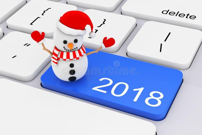 Llave del Año Nuevo del azul 2018 con el muñeco de nieve en el teclado blanco de la PC 3d ren ilustración del vector