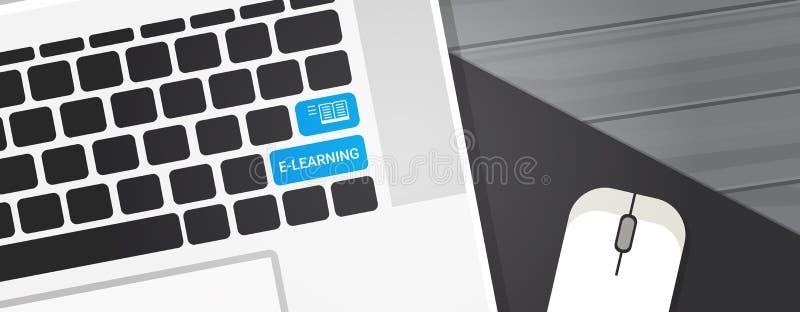 Llave del Elearning en bandera horizontal del concepto en línea de la educación del teclado de ordenador portátil stock de ilustración