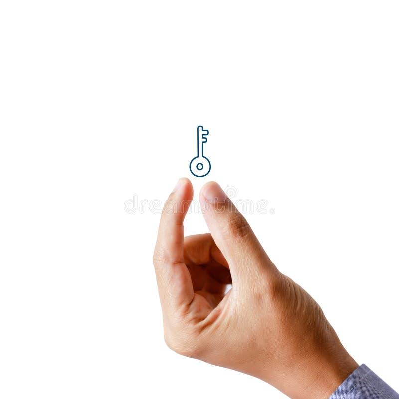 Llave del presente de la mano del hombre de negocios, concepto acertado imágenes de archivo libres de regalías