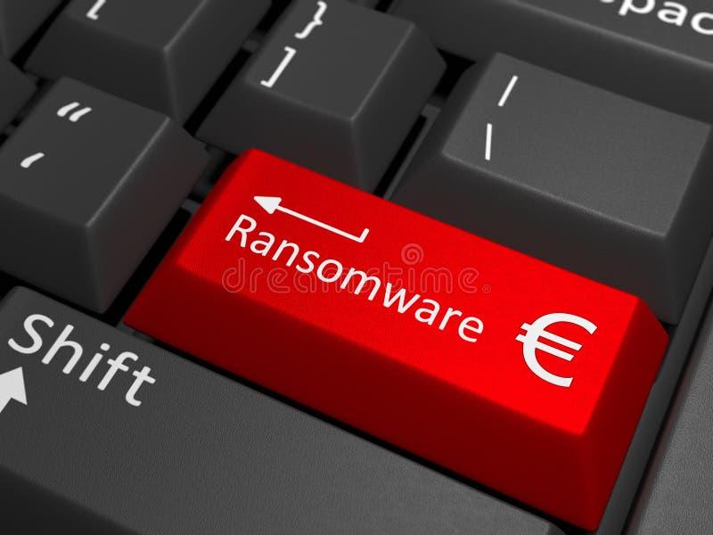 Llave euro de Ransomware en el teclado fotos de archivo