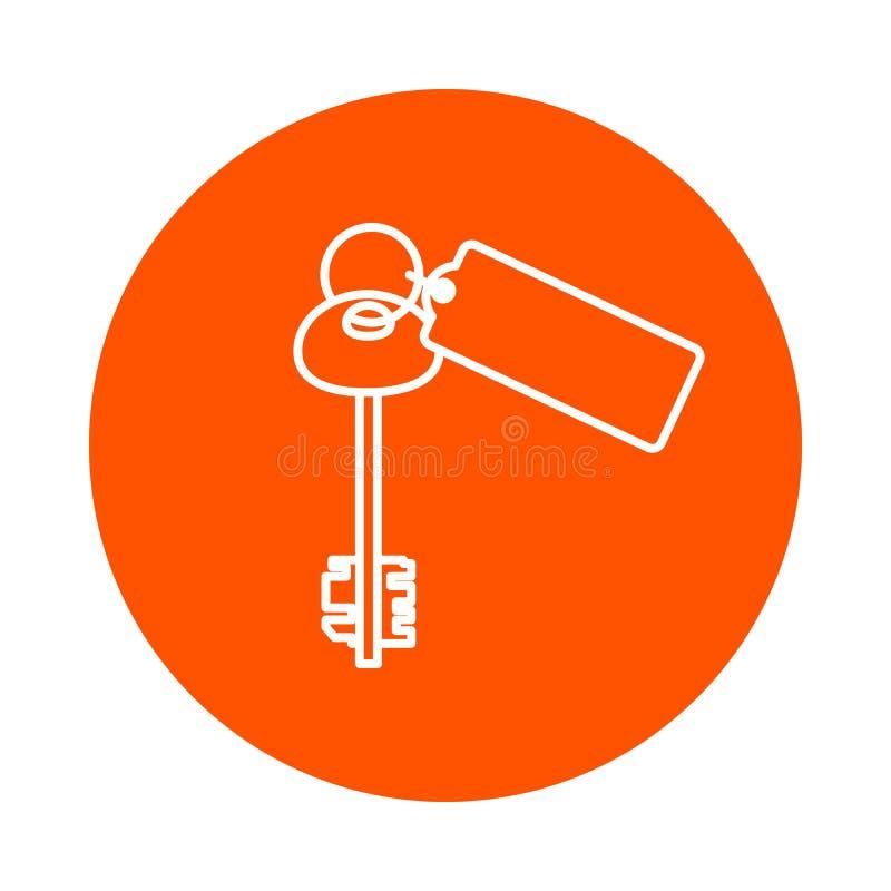 Llave grande de la puerta con el llavero, icono monocromático redondo, estilo plano stock de ilustración