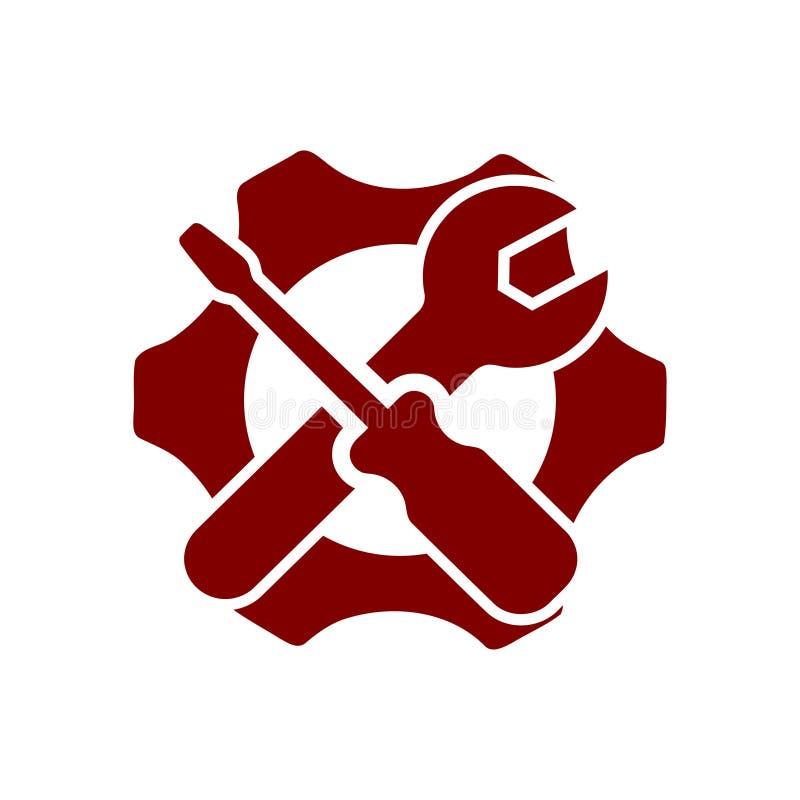 llave inglesa, reparaci?n, llave, industria, destornillador, engranaje, ajustes, equipo, servicio, mantenimiento, icono del color stock de ilustración