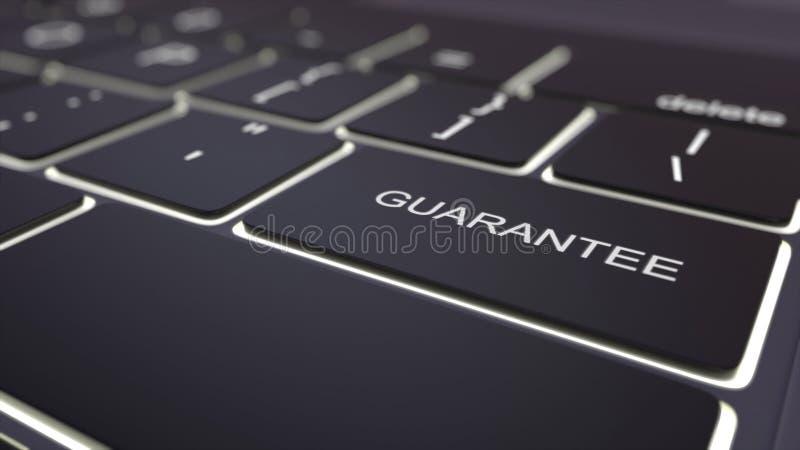 Llave luminosa negra del teclado y de la garantía de ordenador Representación conceptual 3d stock de ilustración