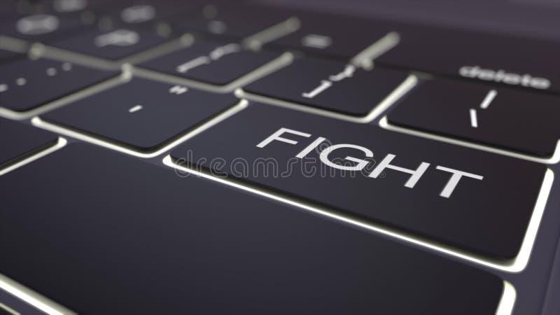 Llave luminosa negra del teclado y de la lucha de ordenador Representación conceptual 3d ilustración del vector