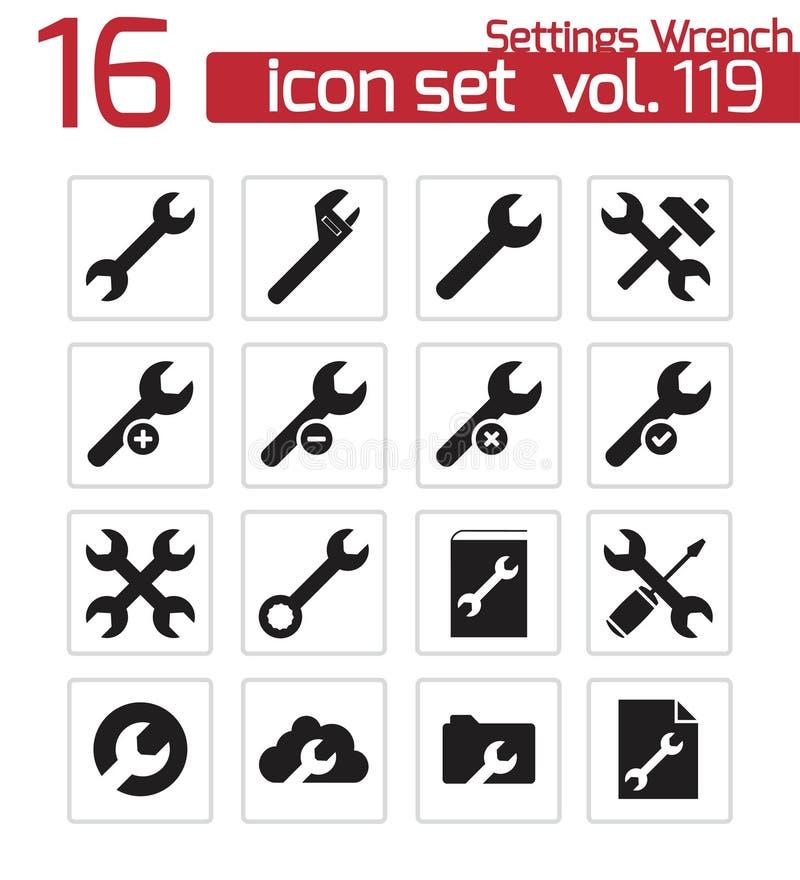 Llave negra de los ajustes del vector   iconos libre illustration