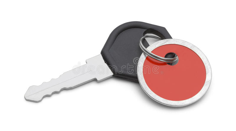 Llave roja de la etiqueta fotografía de archivo