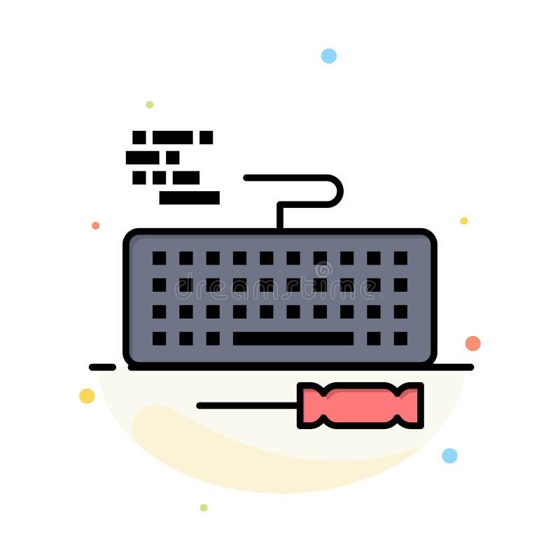 Llave, teclado, hardware, plantilla plana del icono del color del extracto de la reparación libre illustration