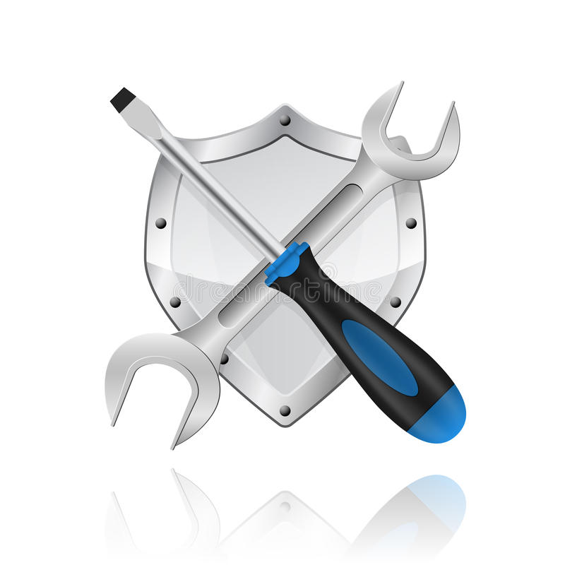 Llave y acrewdriver ilustración del vector