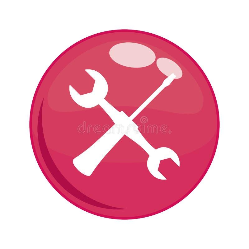 Llave y destornillador en botón ilustración del vector