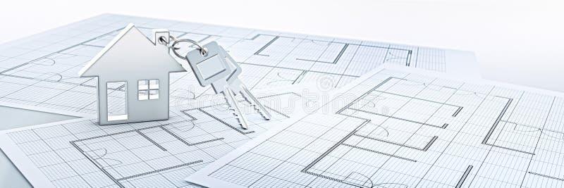 Llavero de plata de la casa con las llaves de plata ilustración del vector