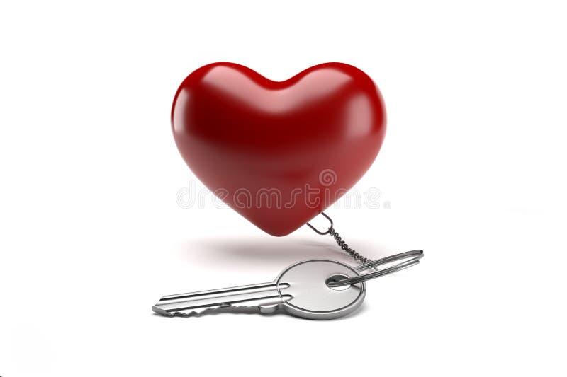 Llaveros con la forma roja del corazón aislada libre illustration