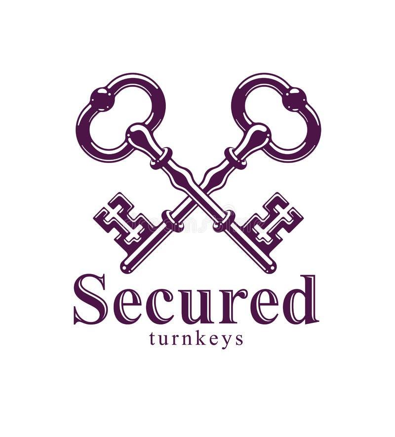 Llaves cruzadas, logotipo o emblema antiguo, secreto protegido, protecci?n de datos electr?nica, llaves del vector de los carcele libre illustration