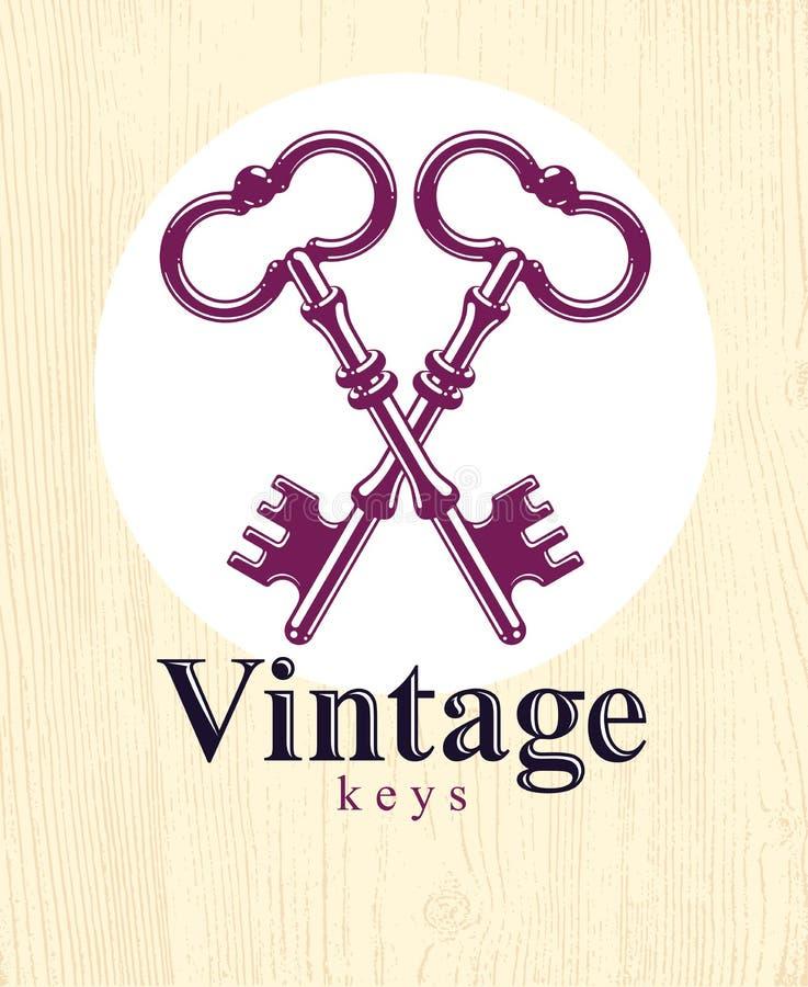 Llaves cruzadas, secreto protegido, protección de datos electrónica, llaves al cielo, etiqueta del hotel, logotipo antiguo del ve libre illustration
