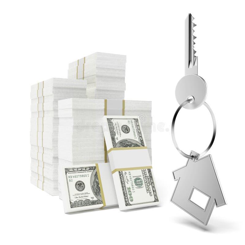 Llaves de la casa en la pila de dinero foto de archivo