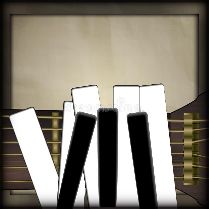 Llaves de la guitarra y del piano bajo la forma de fingeres stock de ilustración