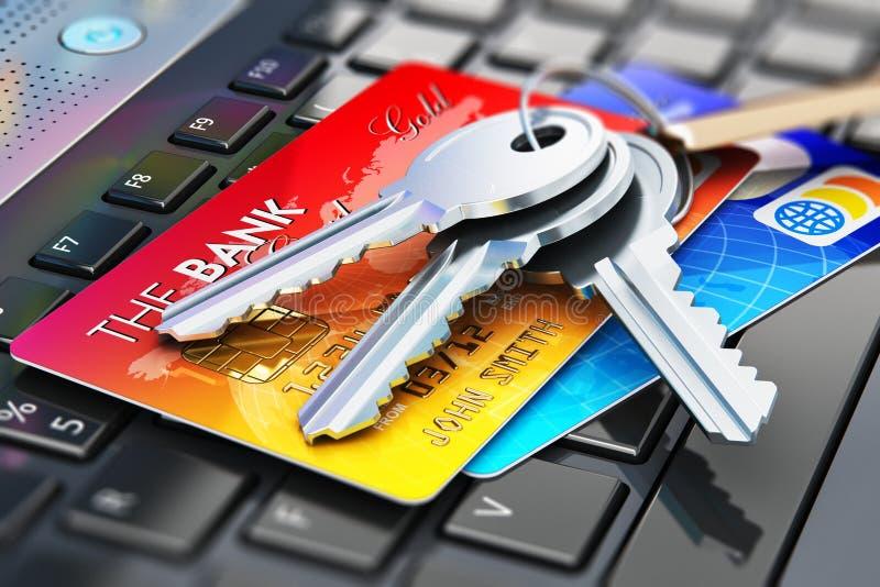Llaves de las tarjetas y de la casa de crédito en el teclado del ordenador portátil stock de ilustración