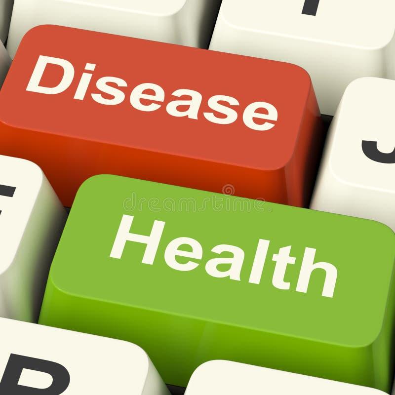 Llaves de ordenador de la enfermedad y de la salud que muestran atención sanitaria en línea o el Tr imagen de archivo libre de regalías