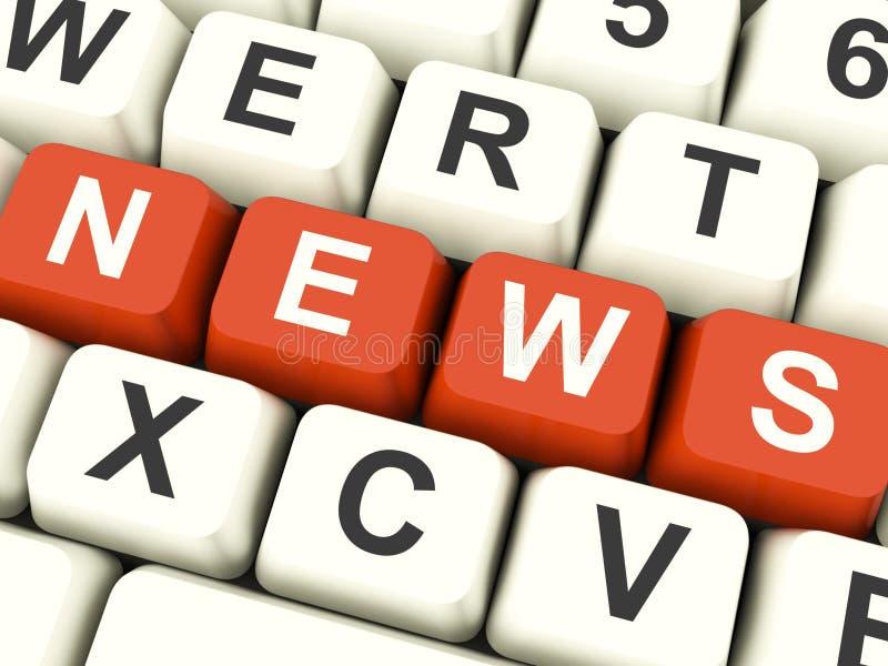 Llaves de ordenador de las noticias que muestran medios y la información imagenes de archivo