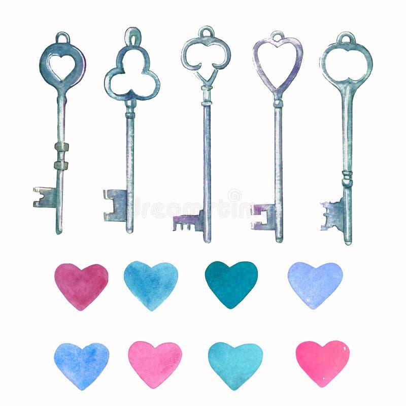Llaves del metal del vintage de la acuarela dibujadas por las manos y el rosa, corazones azules stock de ilustración