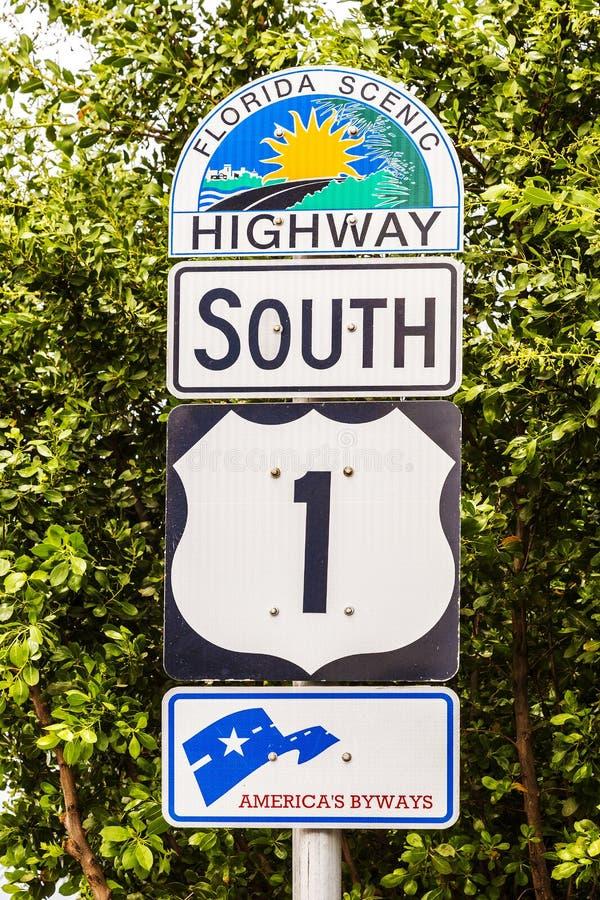 Llaves del No1 la Florida de la muestra de la carretera fotos de archivo