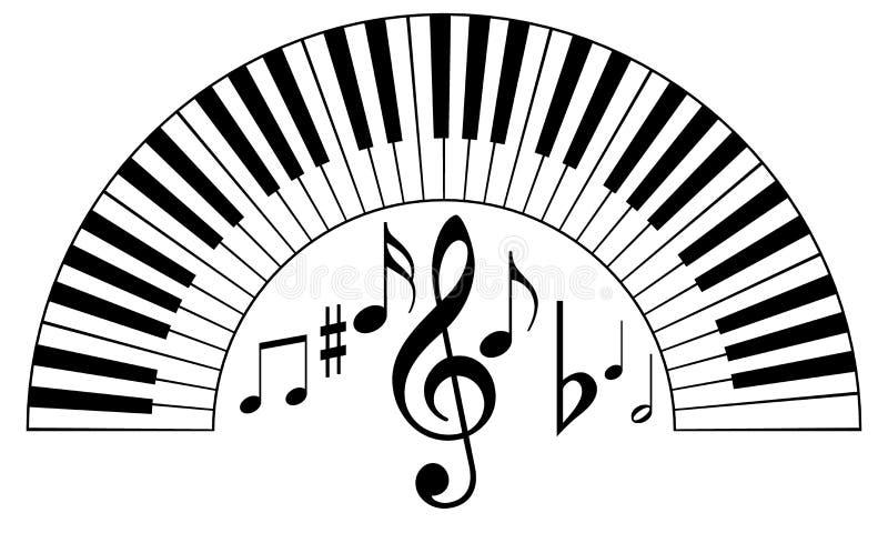 Llaves del piano con las notas de la música ilustración del vector