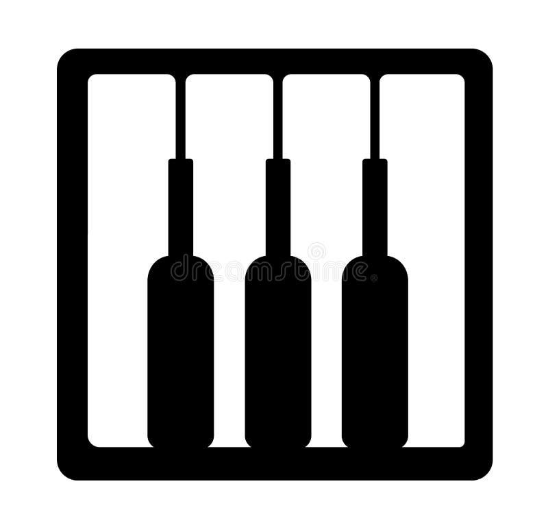 Llaves del vino y de la botella del piano Identidad de la nota del gusto libre illustration
