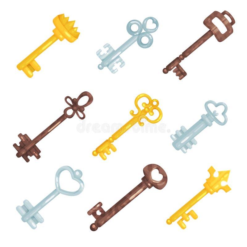 Llaves del vintage de la colección las viejas, diversas llaves retras del bronce, de la plata y del oro vector ejemplos ilustración del vector