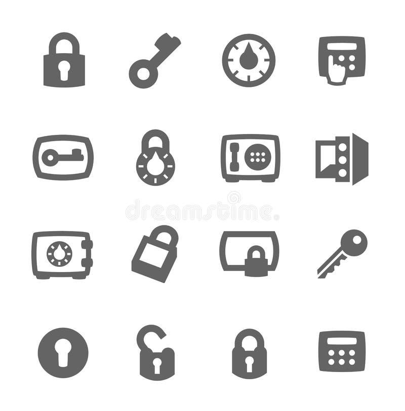 Llaves e iconos de las cerraduras ilustración del vector