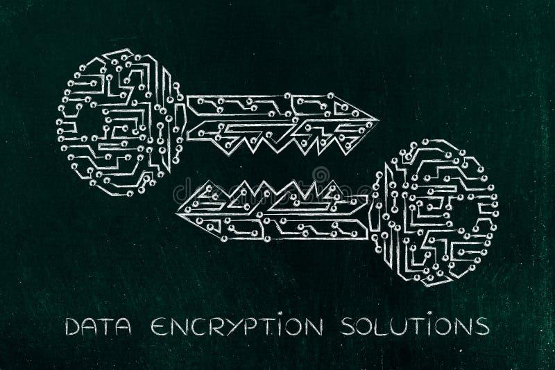 Llaves a juego hechas de circuitos electrónicos, de la encripción y del cryptogr imagenes de archivo