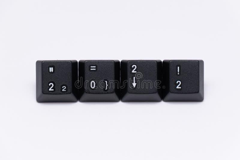 Llaves negras del teclado con diversos años, palabras, nombres fotografía de archivo