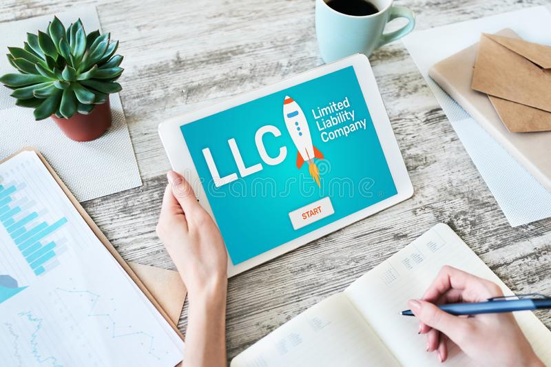 LLC Limited Liability Company. Business strategy and technology concept. stock image
