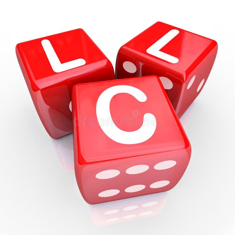 LLC listów 3 kostka do gry Czerwony hazard Zakłada się Nowego przedsięwzięcie gospodarcze Entrepren royalty ilustracja