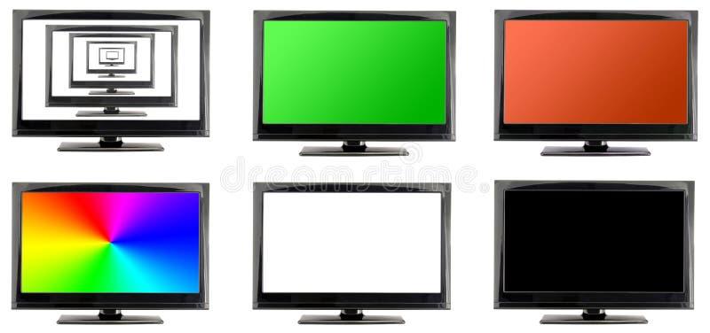 Llcd tv monitor z dużo ekranizuje odosobnionego fotografia stock