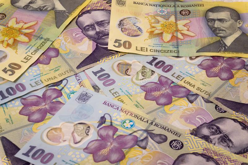 Lle banconote di cento cinquanta leu di valuta/concetti rumeni Ron dei leu fotografia stock