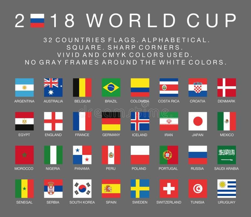 Lle bandiere della coppa del Mondo 2018 di Fifa di 32 paesi illustrazione di stock