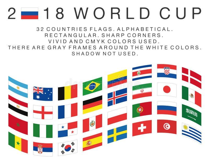 Lle bandiere rettangolari dei paesi di 2018 coppe del Mondo