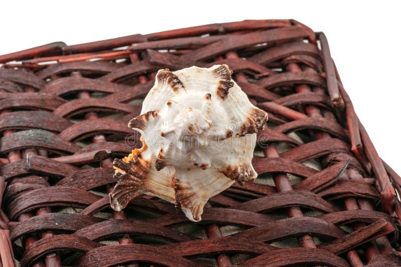 Lle coperture torte si trovano su un canestro di vimini marrone fotografia stock libera da diritti
