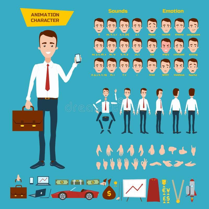 Lle grande hanno messo per l'animazione di un carattere dell'uomo d'affari su un fondo bianco Animazione dei suoni, emozioni, ges illustrazione di stock