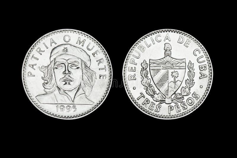 Lle monete cubane di tre pesi con il fronte di Che immagine stock