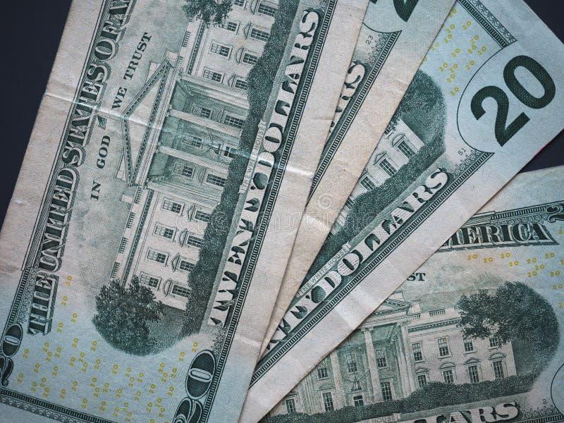 Lle note di 20 dollari, Stati Uniti fotografia stock
