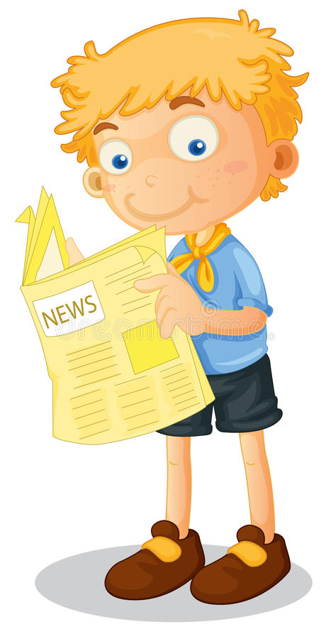 Lle notizie della lettura del ragazzo illustrazione vettoriale