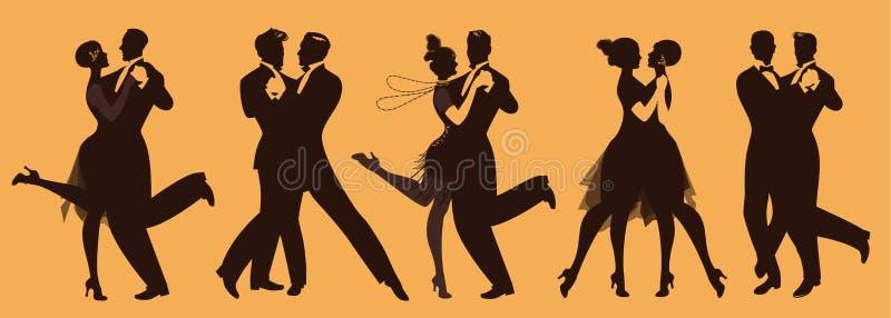Lle siluette di cinque coppie che indossano i vestiti nello stile degli anni venti che ballano retro musica royalty illustrazione gratis