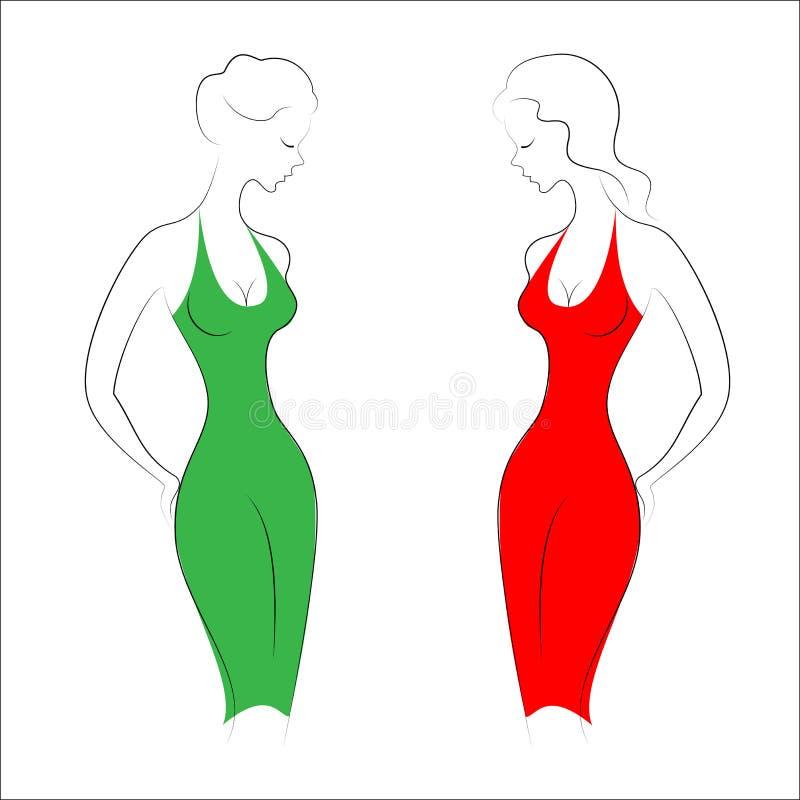 Lle siluette di due belle signore Le ragazze sono esili ed eleganti Donne vestite in vestiti da sera, rosso e verde Vettore illustrazione di stock