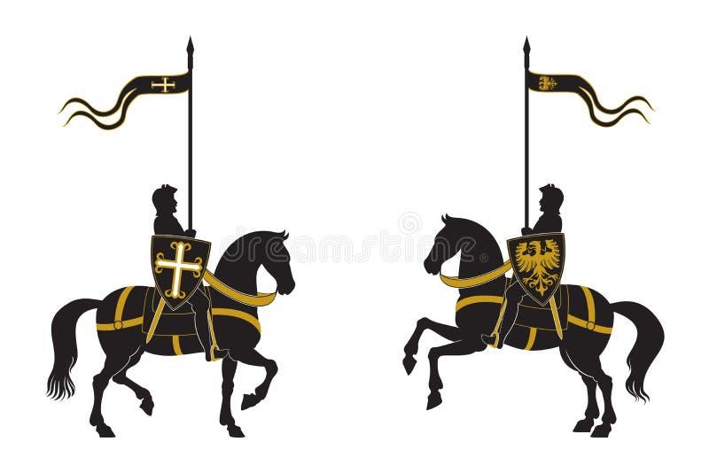 Lle siluette di due cavalieri illustrazione vettoriale