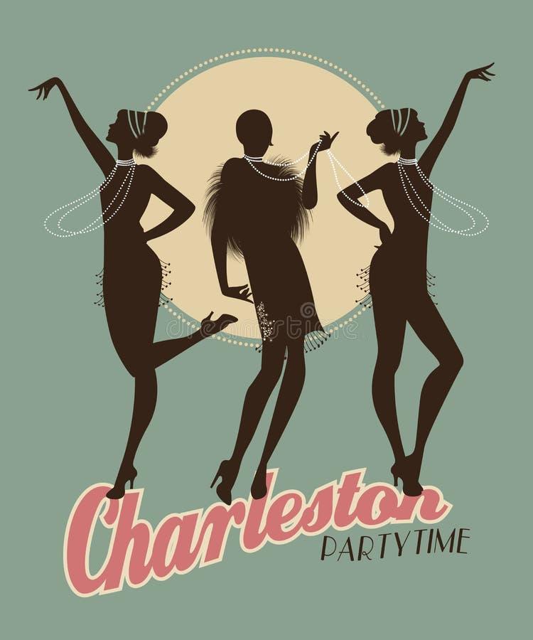 Lle siluette di tre ragazze della falda su Charleston fanno festa il manifesto royalty illustrazione gratis