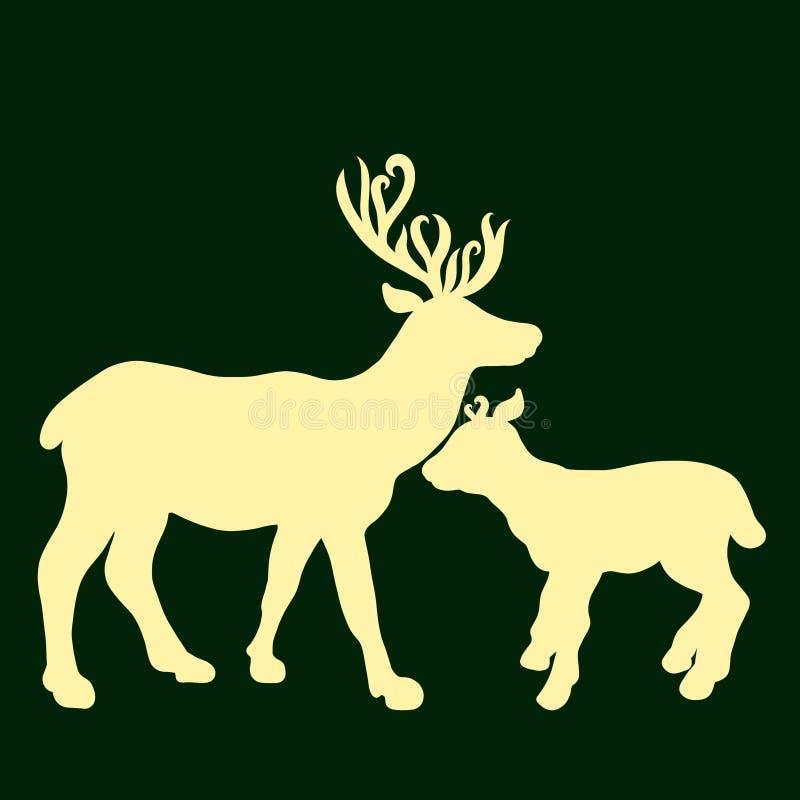Lle siluette gialle di due cervi su un fondo verde royalty illustrazione gratis