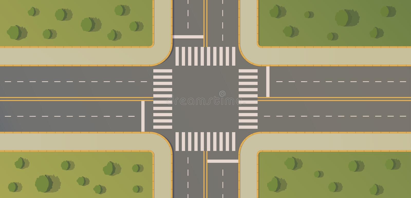 Lle strade trasversali di due strade con i percorsi pedonali, bordi e bordi, segnaletiche stradali, erba, cespugli ed alberi illustrazione vettoriale